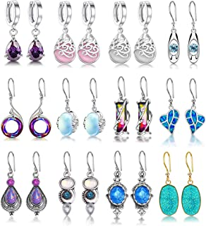 12 Pairs Fashion Crystal Nirvana of Phoenix Opal Tears Drop Earring Oval Quartz Stone Dangle Earrings for Women Healing Ea...