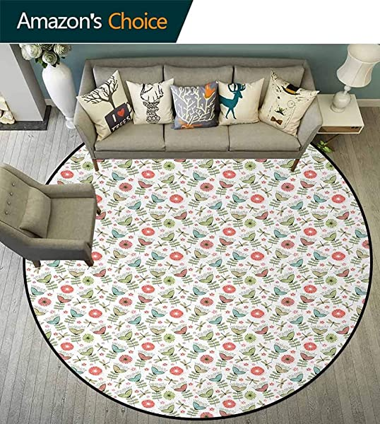 Floral Modern Machine Washable Round Bath Mat Doodle Style Dragonflies And Blooming Flowers Vintage Inspirations Non Slip Soft Floor Mat Home Decor Diameter 47 Inch Coral Pale Blue Pale Green