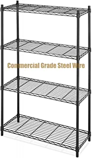 Koonlert@shop Commercial Grade NSF 4-Tier Steel Shelving Storage Office Garage Kitchen Closet Organizer Adjustable Durable Constructed Wire Shelf - Black Finish #1166b