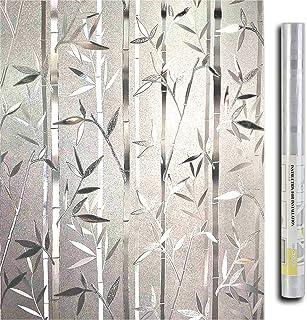 LEMON CLOUD 3D Vinilo Ventanas Pegatina Translúcida Adhesivo Estatico se Aferran Bambus Patron para Oficina Casa Decoracion y Proteccion de la Privacidad (44.5cmX200cm Bambu)