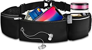 REALIKE Running Hydration Belt Pack Waist Bag with Water Bottle Holder Double Zipper Pouch Funny Bag with Reflective Adjustable Strip Fit iPhone Xs max for Running, Cycling, Hiking Outdoor Sport