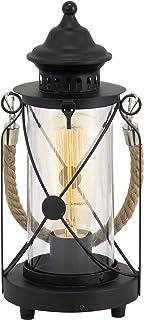 Lámpara de mesa EGLO Bradford, lámpara de mesa vintage con 1 bombilla, farola, lámpara de mesita de noche de acero, color: negro, vidrio: transparente, casquillo: E27, incl. interruptor
