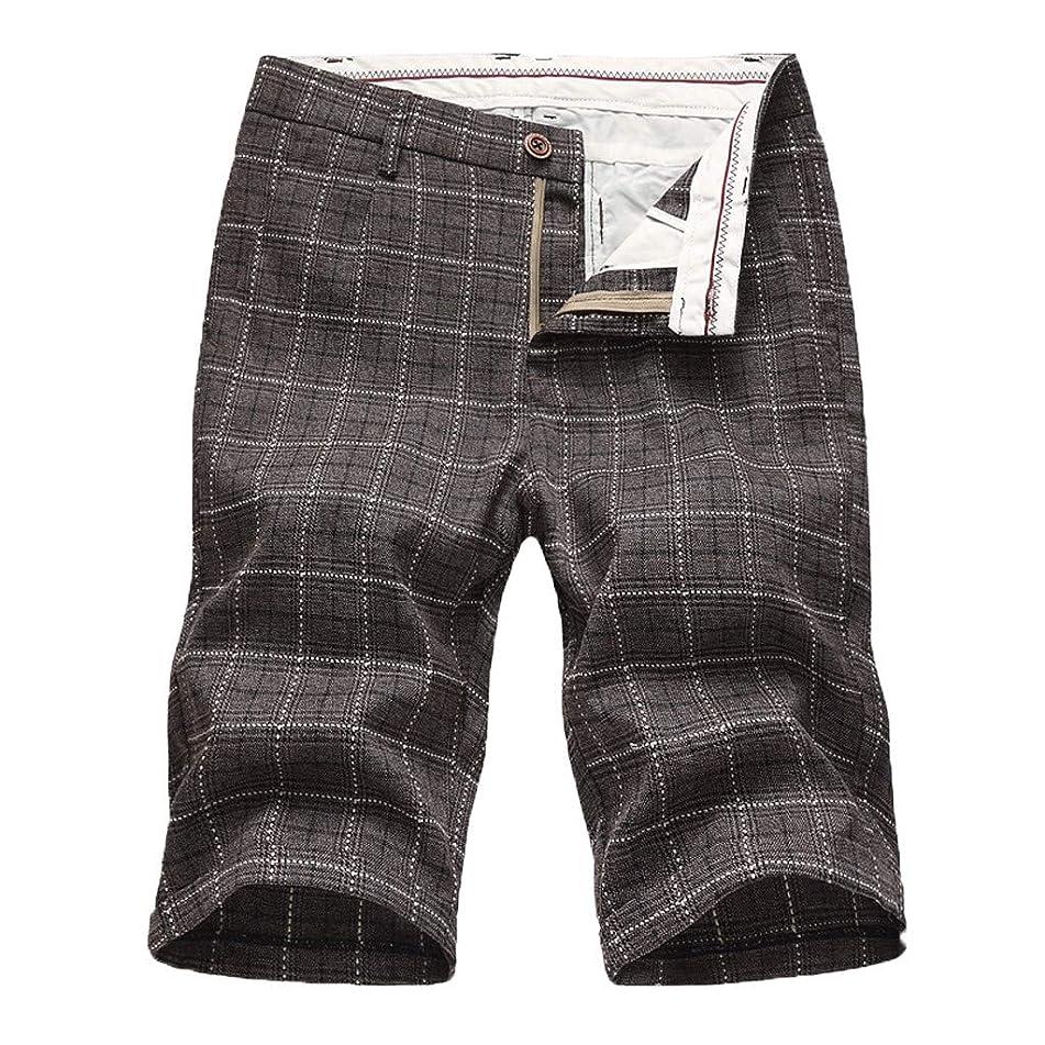 NUWFOR Men's New Summer Shorts Simple Leisure Fashion Boxer Lattice Zipper Shorts?Coffee,US L Waist:38.58''?
