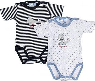 SALT AND PEPPER Baby Jungen Doppelpack Body kurzarm in weiß/blau by Babyglück