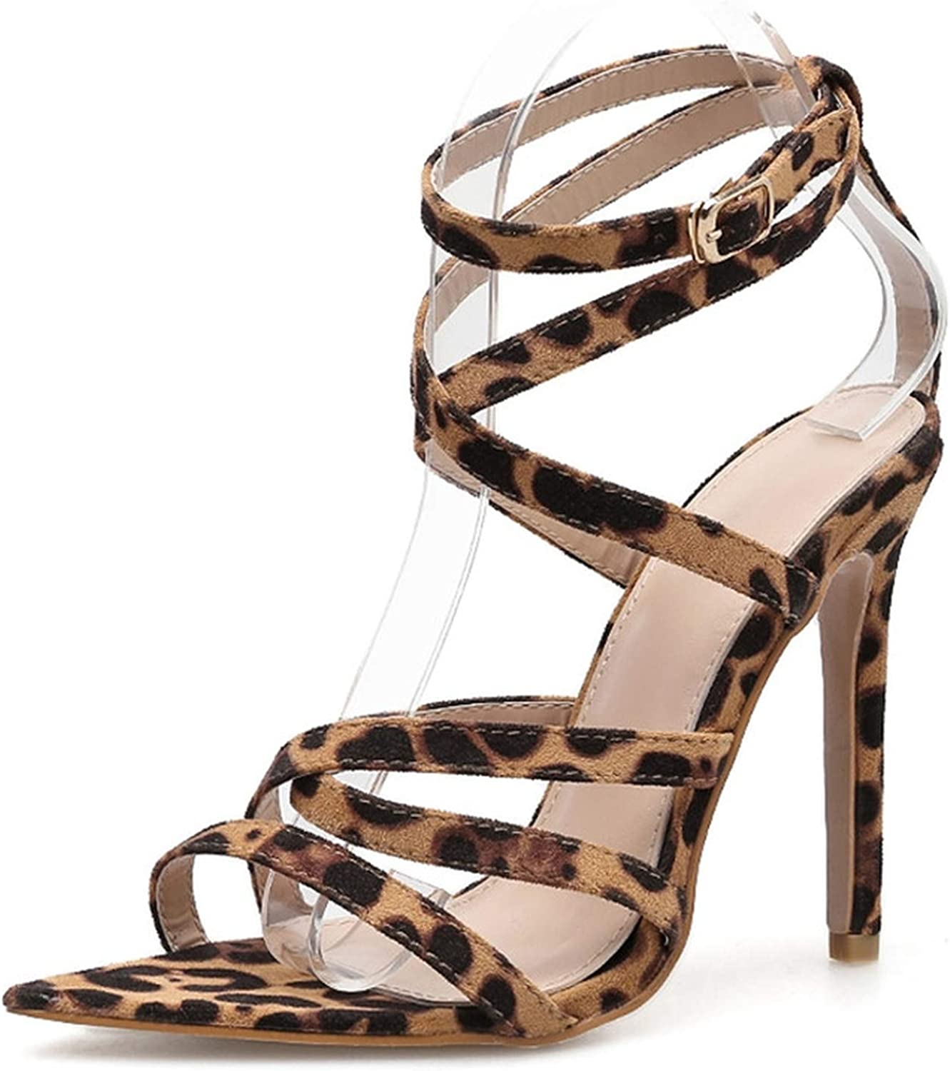 April With You Lace Up Rome Sandals Ladies Summer Leopard Print High Heel Gladiator Sandals Size 35-40