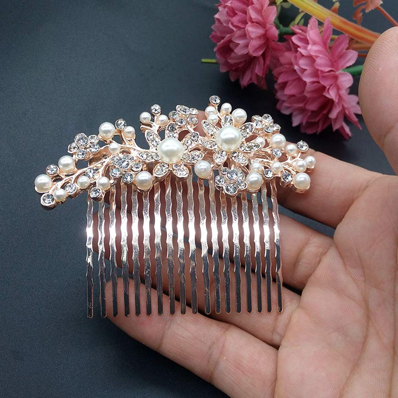 YuYe Bride Hair Decoration Flower Faux Pearl Rhinestone Comb Hairpin Women Jewelry - Golden