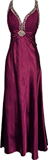Twist Back Beaded Satin Formal Gown Junior Plus Size