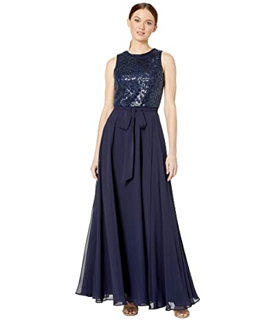 Calvin Klein Embroidered Bodice Gown (Twilight) Women