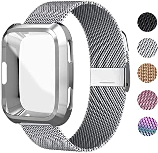 UHKZ Compatible for Fitbit Versa Bands, Stainless Steel Mesh Sport Metal Wristband Loop Accessories for Women Men with Fitbit Versa Screen Protector Case Compatible for Fitbit Versa Smartwatch