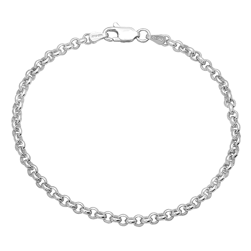 Pure .925 Sterling Silver Oxidized 3.2mm Rolo Chain or Bracelet - Made in Italy + Jewelry Cleaning Cloth odmb9812551159