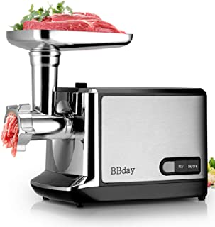 Electric Meat Grinder, Stainless Steel Meat Slicer & Sausage Stuffer [2000W Max] [ETL Approved] [Easy to Clean] with 3 Grinding Plates, Sausage & Kubbe Kit for Home Kitchen & Commercial Using