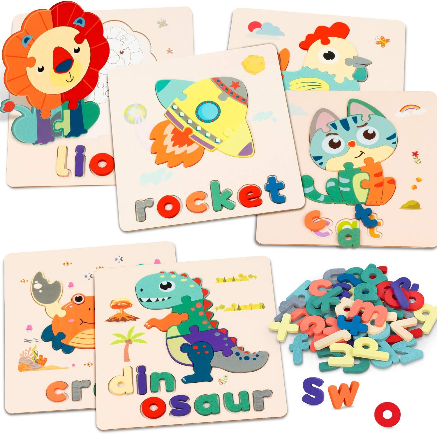 Wooden Outstanding Animal Alphabet Jigsaw Puzzles Cheap super special price Toddlers 6 Education Pack