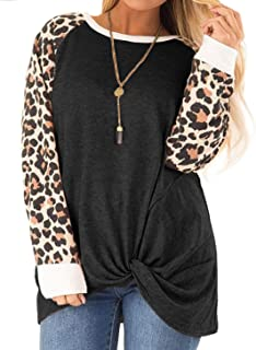 DOLNINE Womens Plus Size Knotted Tops Long Sleeve Tee...