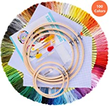 Embroidery Starter Kit Full Range of Cross Stitch Kits,Craft for Adult Embroidery Kits Beginner Including Instruction 100 Colors Embroidery Floss Thread 5 Pcs Embroidery Hoops 2 Pcs Fabric Needlepoint