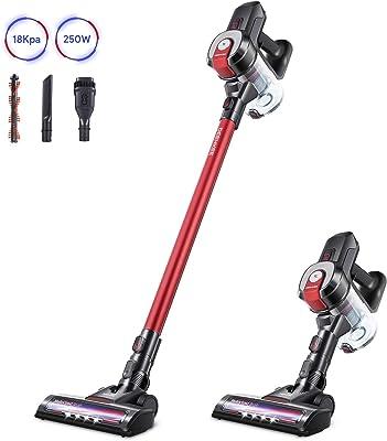 DEENKEE Cordless Vacuum Cleaner, 6 in 1 Handheld Stick Vacuum Cleaner 18KPa 250W Powerful Cleaning Lightweight Vacuum for Home Hard Floor Carpet Car Pet