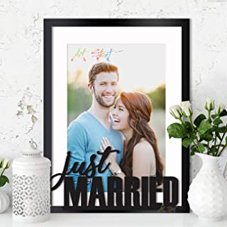 Art Street Personalized Just Married Theme Photo Frame (Outer Size 13 x 17 Inches)