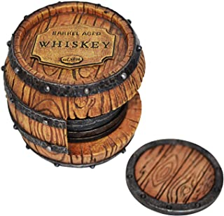5pc Whiskey Barrel Drink Coasters Unique - Bar Decor and...