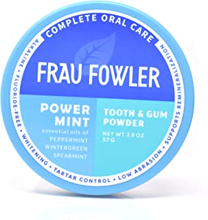 POWER MINT Tooth Powder- Botanically Clean, Teeth-Whitening, Remineralizing, Fluoride Free, Gluten Free, SLS Free -Restores Enamel and Freshens Breath, 2 oz