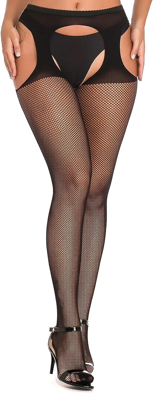 Women's Garter Belt Fishnet Stocking Suspender Pantyhose Sexy Tights High Waisted