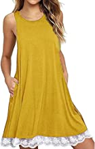 HGWXX7 2018 Women Casual Lace O Neck Solid Sleeveless Party Cotton A-Line Dress