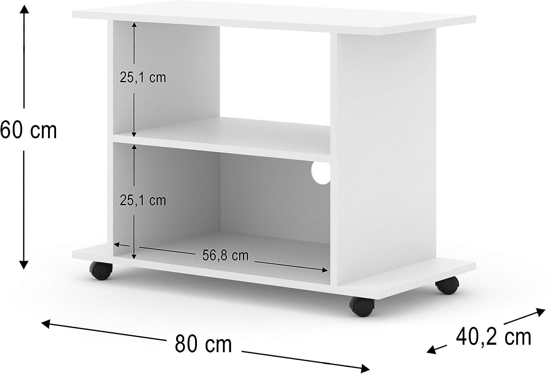 bim furniture tv lowboard schrank mit radern yogi 80 cm tv tisch sideboard kommode hi fi tisch weiss