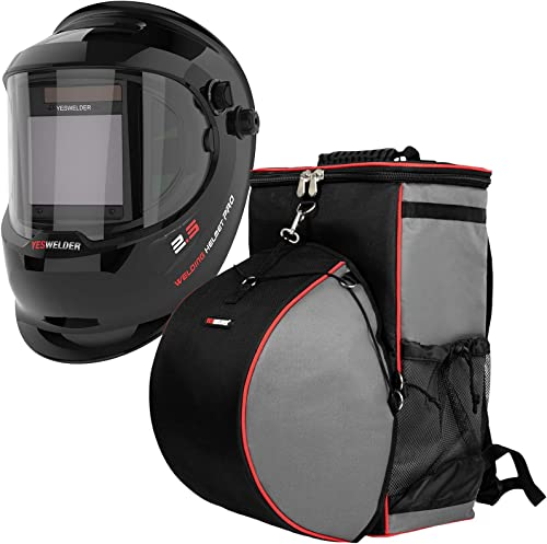 lowest YESWELDER Large popular Viewing True Color Solar Powered Auto Darkening Welding Helmet with SIDE wholesale VIEW &Welding Backpack Extreme Gear Pack with Helmetcatch online