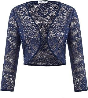 Kate Kasin Women's 3/4 Sleeve Crochet Shrug Open Front Cardigan KK430