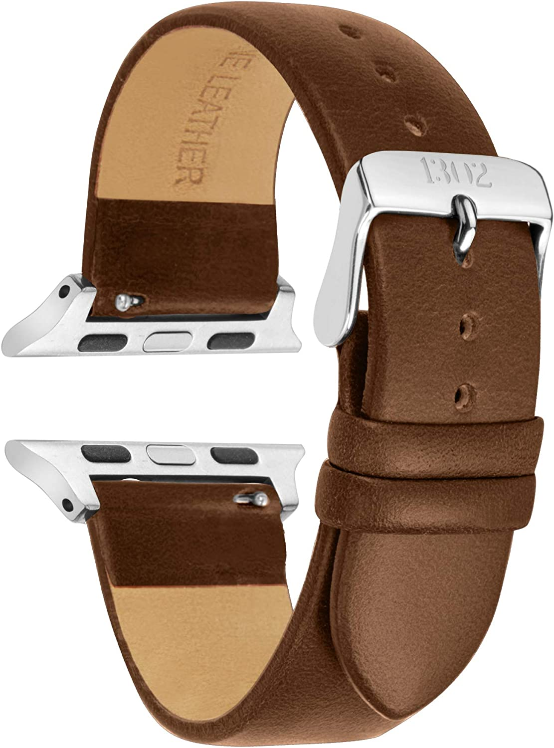 Compatible with Silver Apple Watch Band 38mm - Leather Apple Watch Band 38mm - Leather Apple Watch Band 42mm Men - Leather iwatch Band 38mm - 42mm Apple Watch Band (Walnut, 42mm/44mm)