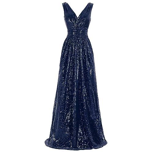 b88bb6889ed Kate Kasin Women Sequin Bridesmaid Dress Sleeveless Maxi Evening Prom  Dresses