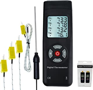 Thermometer 4 Channels K-Type Thermocouple sensor tester with K-Type Metal & Bead Probe Backlight Temperature Instrument -50~1350°C (-58~2462°F) Max/Min/Avg reading Data Log Storage Recording Function