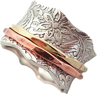 Balance & Beauty Sterling Silver Meditation Spinner Ring Brass & Copper Spinners Leaf Pattern Base Ring (Style USA88)
