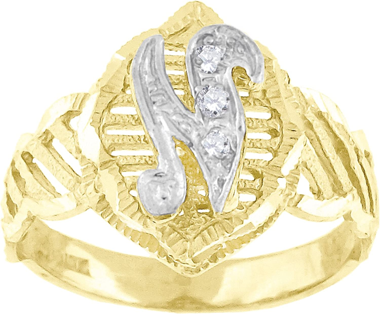 10kt TwoTone gold Womens Round Cubic Zirconia CZ Initial Letter  N  Fashion Ring
