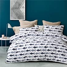 HYPREST Queen Duvet Cover Set - 3 Pcs Soft Shark Comforter Cover Boys Girls Bedding Sets (Not Including Comforter)
