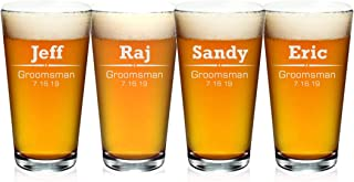 Personalized Beer Glass, Customized Beer Pint Glass For Groomsmen, Set of 4 Pint Beer Glass Gift Wedding