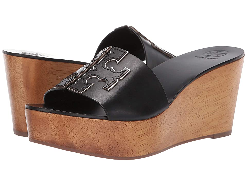 f987eee90e2229 Tory Burch 80 mm Ines Wedge Slide (Perfect Black Silver) Women s Shoes