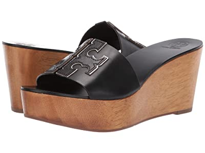 Tory Burch 80 mm Ines Wedge Slide (Perfect Black/Silver) Women