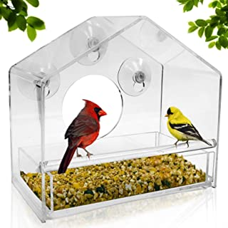 Nature Gear Window Bird Feeder - Refillable Sliding Tray - Weather Proof - Snow and Squirrel Resistant - Drains Rain Water...