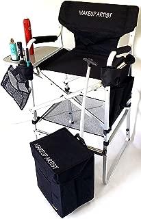 TuscanyPro Tall Makeup Chair & Makeup Cart Combo -Side Tray, 2 Brush Holder-Trash Bag- 29
