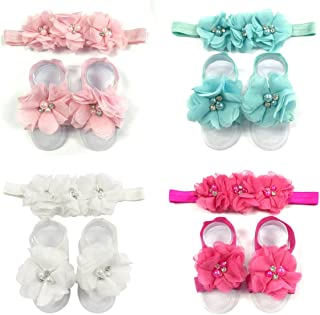 Baby Girl Barefoot Flower Sandals & Headbands Set Chiffon Flower Baby Sandals (4 sets)