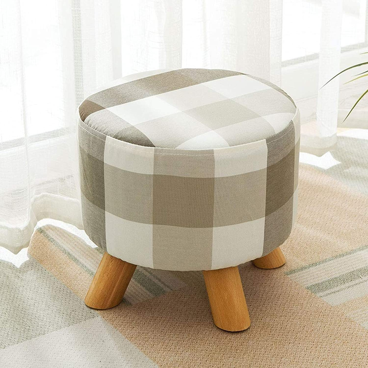 Change shoes Bench Small Stool Cloth Solid Wood Living Room Sofa Stool JINRONG (color   C)