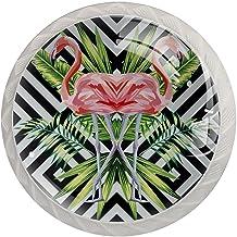 Lade handgrepen trekken ronde kristallen glazen kast knoppen keuken kast handvat,Flamingo patroon