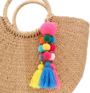 purse with pom poms