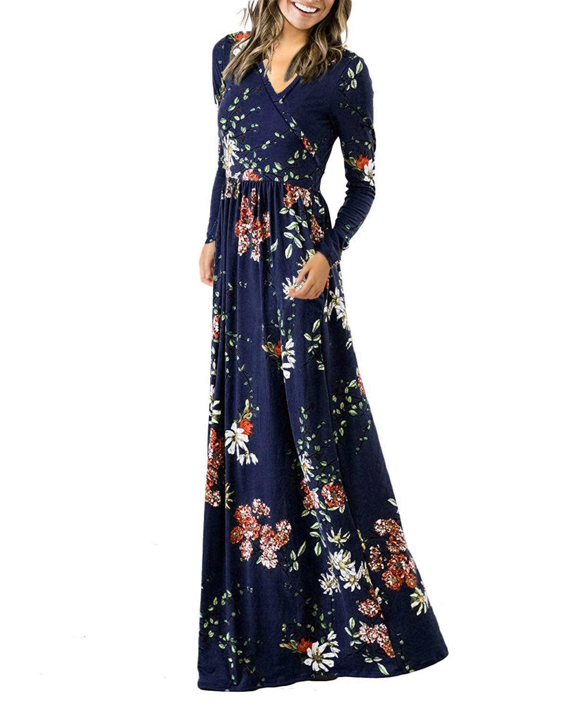 Auxo Women Casual Maxi Dress Long