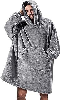 Runcati Mens Womens Wearable Blanket Sweatshirt Fuzzy Sherpa Oversized Cozy Pullover Hoodie Giant Big Pocket Blanket with ...