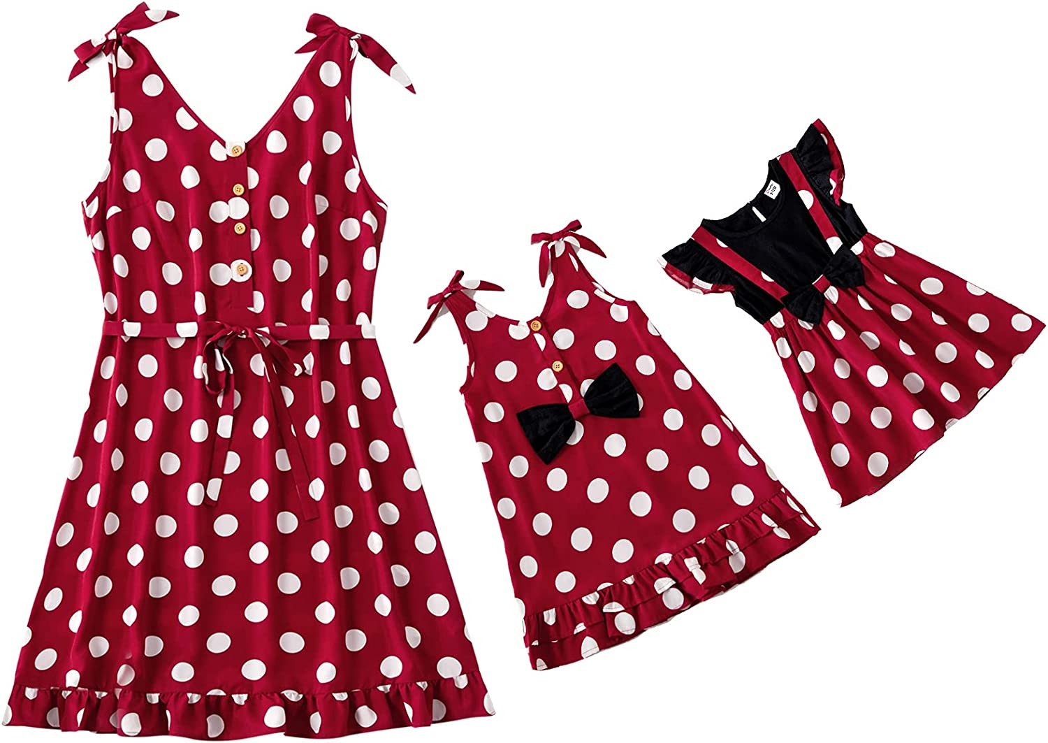 PatPat Plus Size Mommy and Me Polka Dots Dresses Matching Set Sleeveless Flounce Color Block Family Matching Dresses