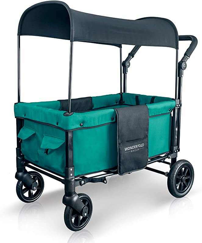 WonderFold Multi Function 2 Passenger Push Folding Stroller Wagon Adjustable Removable Canopy Double Seats With 5 Point Harness Teal Green