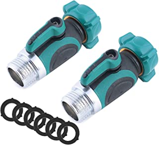 uvce 1 Way Metal Garden Hose Connector,Water Splitter Shut Off Valve with Easy Turn Control Valves Free 6 Rubber Hose Washers Set of 2