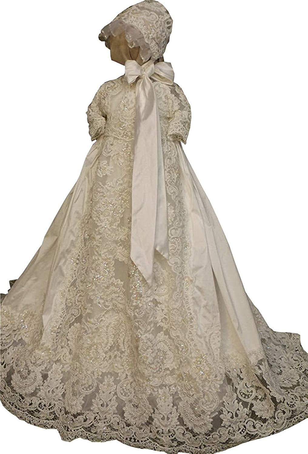 Newdeve White Ivory wholesale Challenge the lowest price Beading Lace Babies Christening Baptism Gown