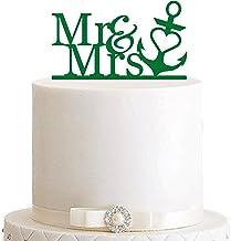 edelstahlheini.de Cake Topper, taartsteker, taartfiguur acryl, taartstaander - kleurkeuze - etagère bruiloft anker Mr & Mrs