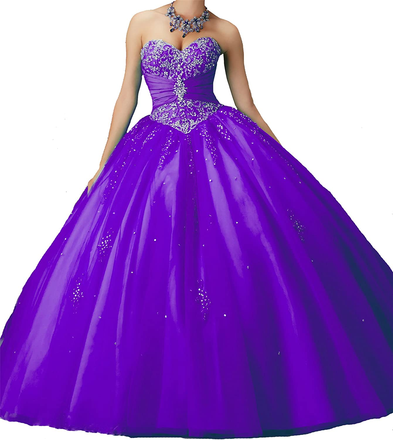 TuanYuan Women Sweetheart Crystal Ball Gowns Empire Girls Quinceanera Dresses